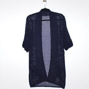 Navy Blue Knit Open Front Cardigan Medium